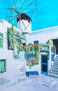 House of a blue Greek island     40X30cm Disponible 400euros